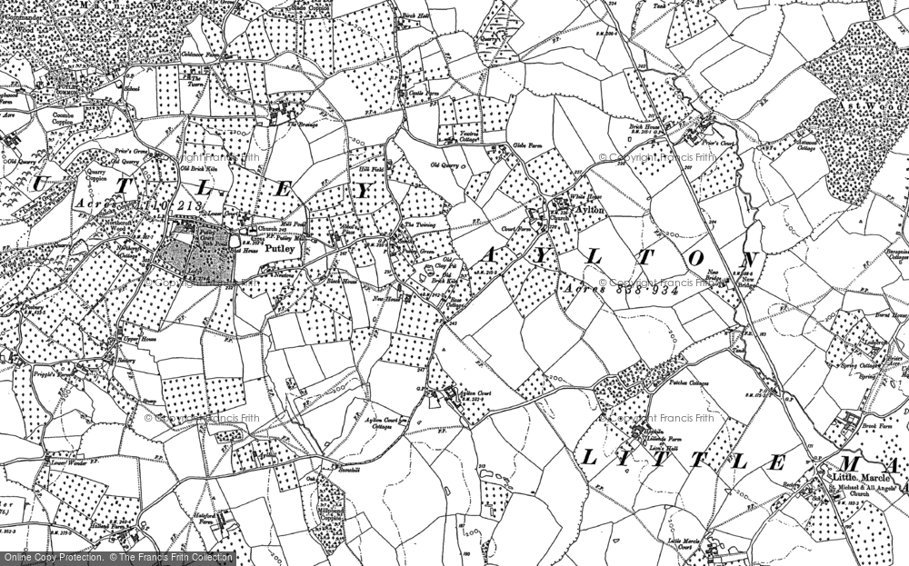 Old Map of Historic Map covering Aylton Court in 1886