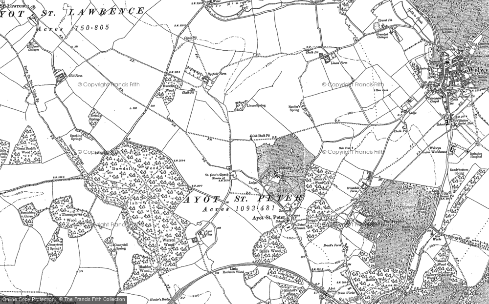 Old Map of Historic Map covering Ayot Bury in 1897