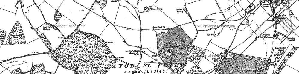 Old map of Ayot Green in 1897