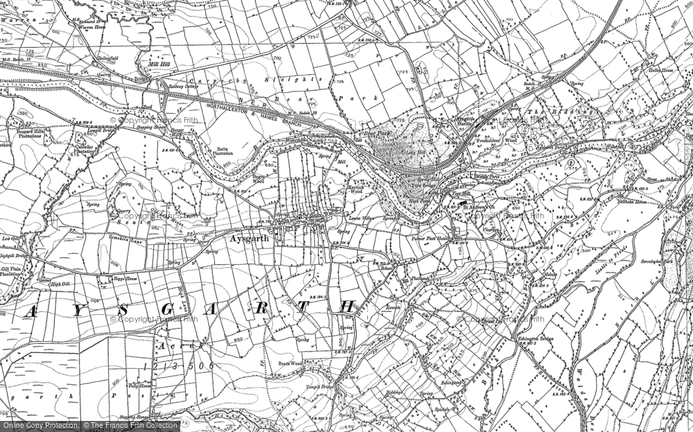 Old Map of Historic Map covering Aysgarth Falls in 1891