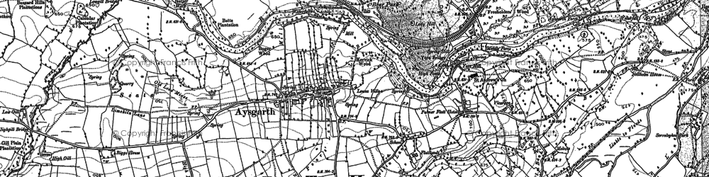 Old map of Aysgarth Falls in 1891