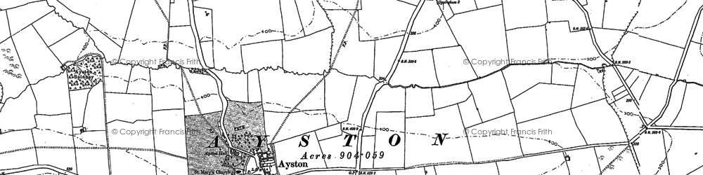 Old map of Ayston in 1902