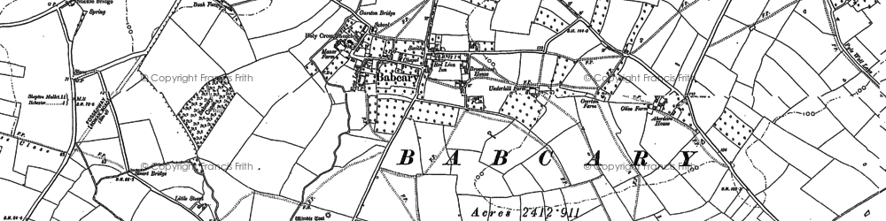 Old map of Babcary in 1885