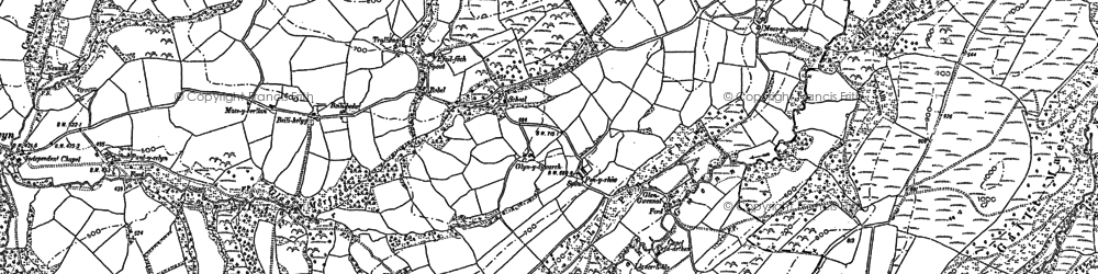 Old map of Banc Cefngarreg in 1886