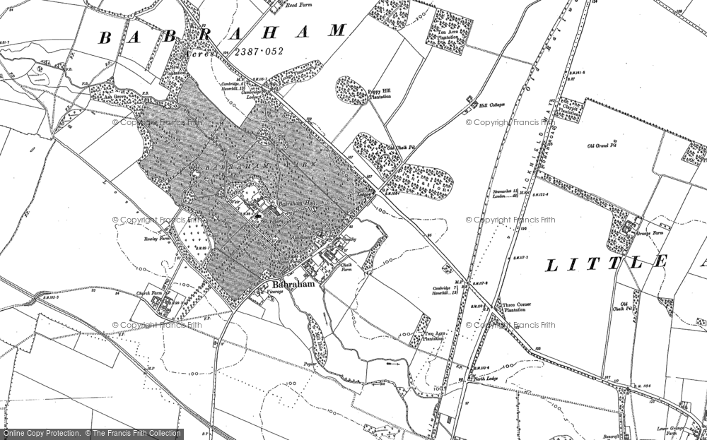 Old Map of Babraham, 1885 in 1885