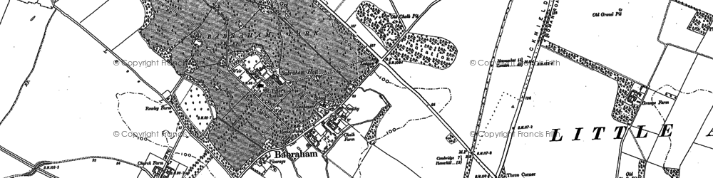 Old map of Babraham in 1885