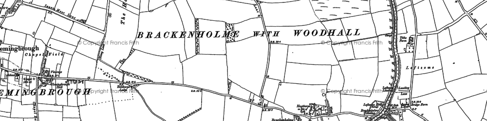 Old map of Babthorpe in 1889