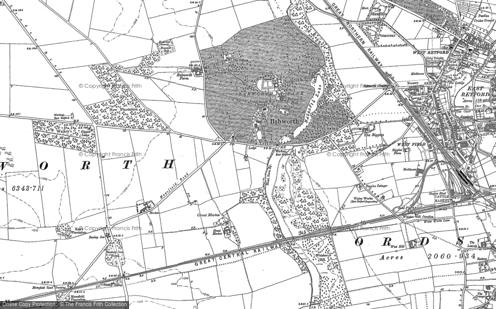 Old Map of Babworth, 1884 - 1885 in 1884