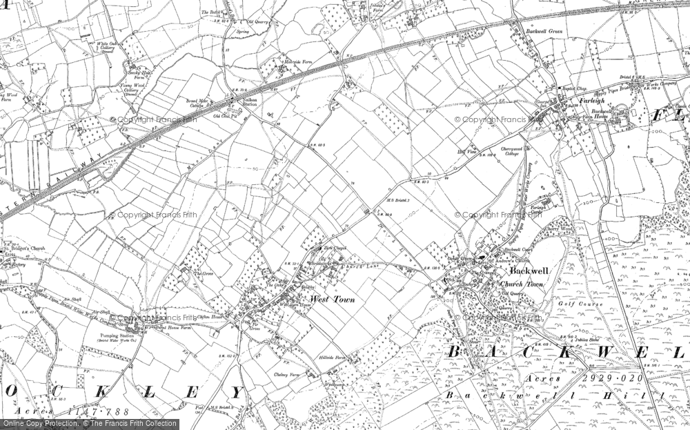 Old Map of Historic Map covering Backwell Hill in 1883