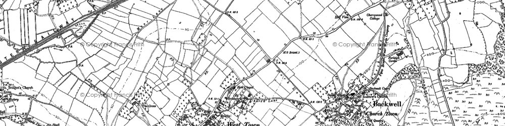Old map of Backwell in 1883
