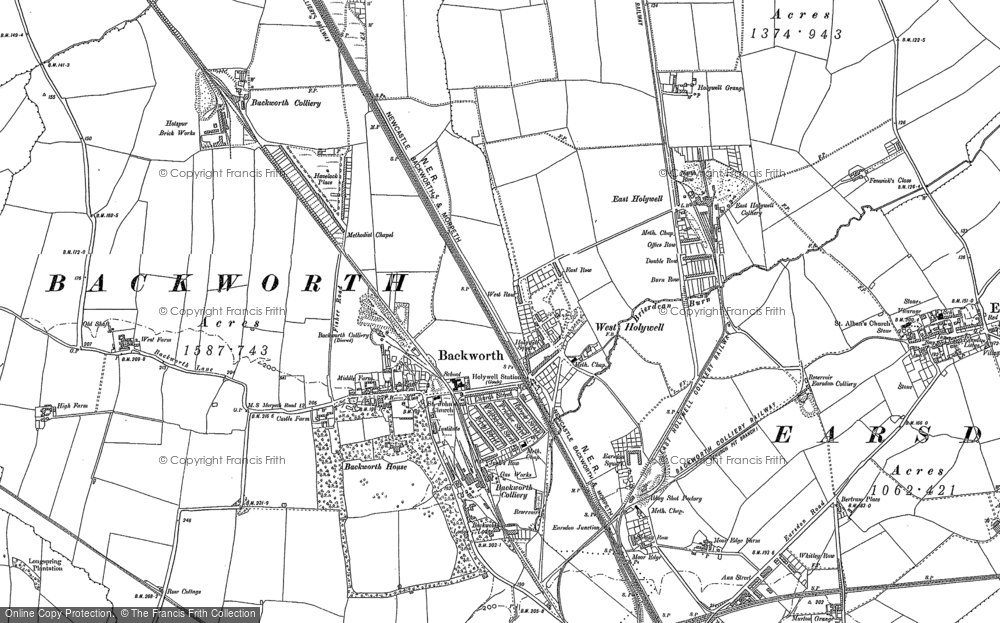 Old Map of Backworth, 1895 - 1896 in 1895