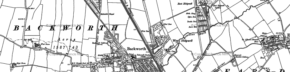 Old map of Backworth in 1895