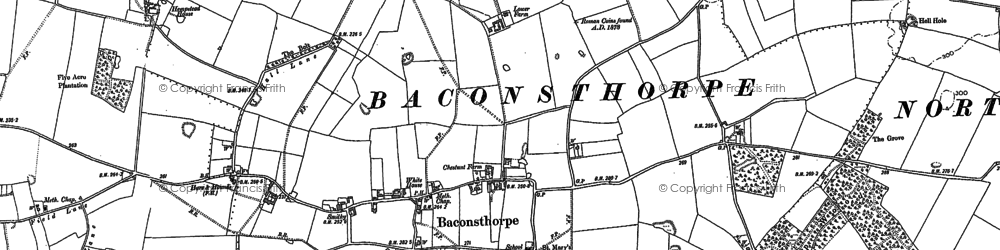 Old map of Baconsthorpe in 1885