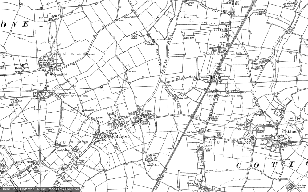 Old Map of Bacton, 1884 in 1884