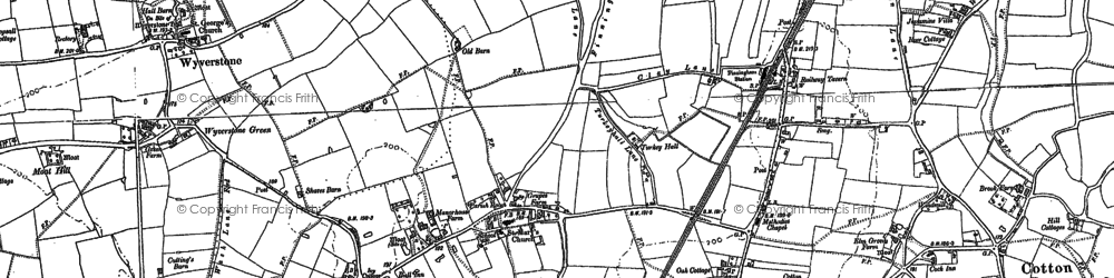 Old map of Wyverstone Green in 1884