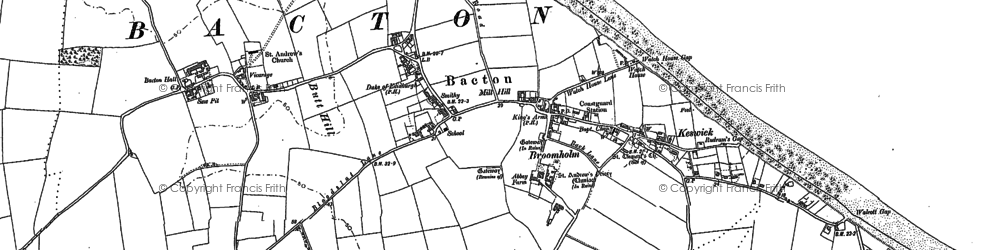 Old map of Bacton in 1885