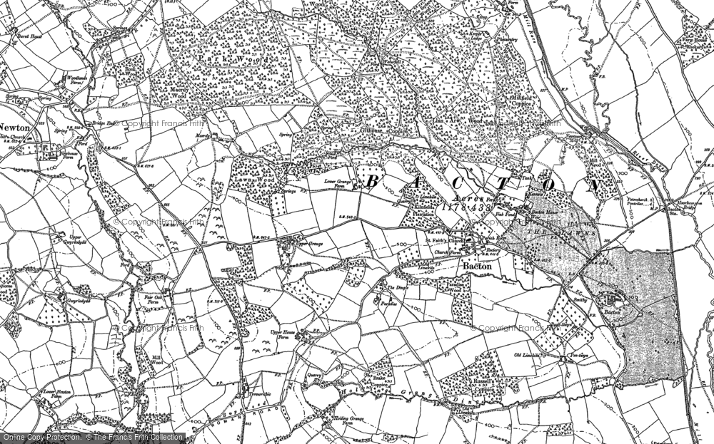 Old Map of Historic Map covering Bacton Stud in 1886