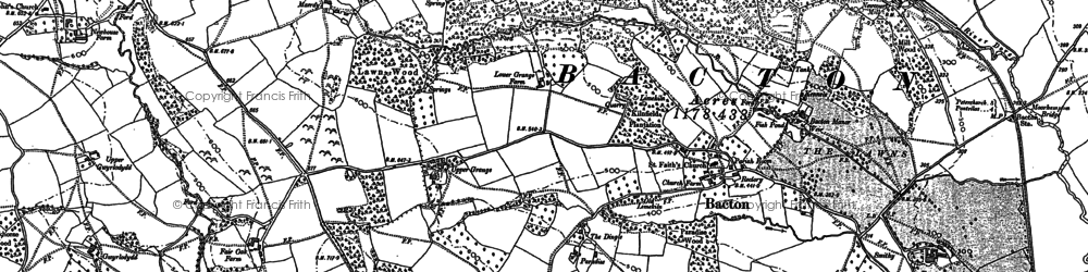 Old map of Bacton in 1886