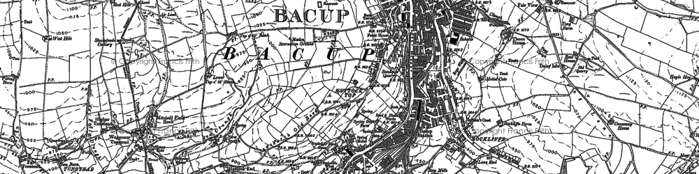 Old map of Bacup in 1891