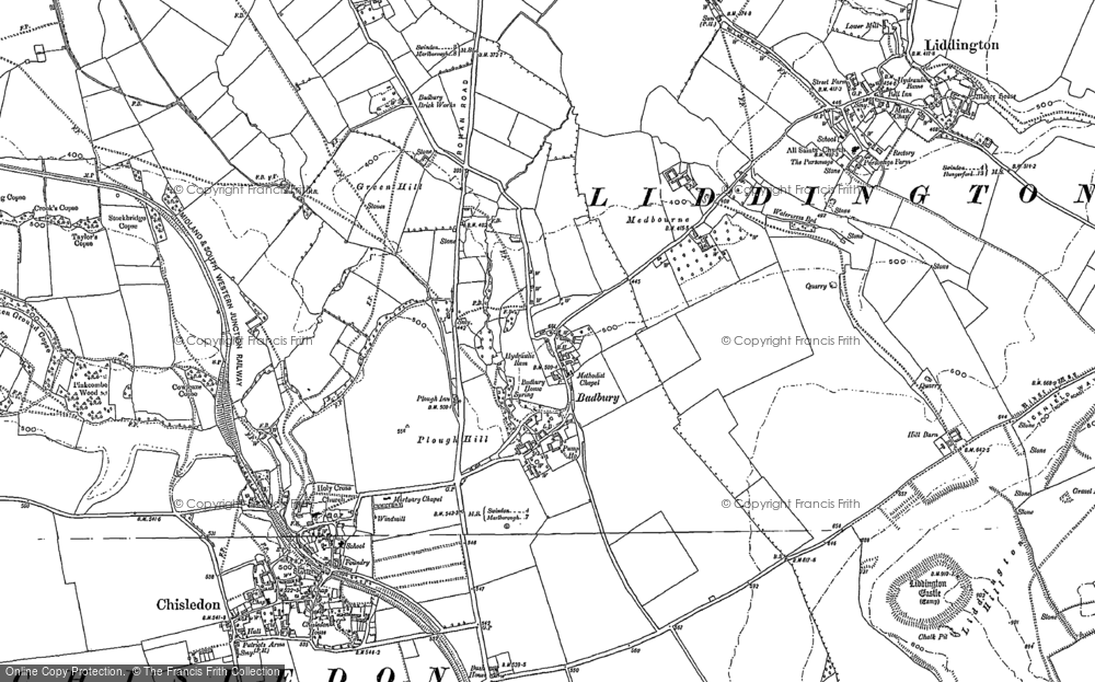 Old Map of Historic Map covering Liddington Castle in 1899