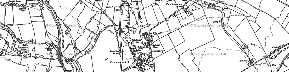 Old map of Badbury in 1899