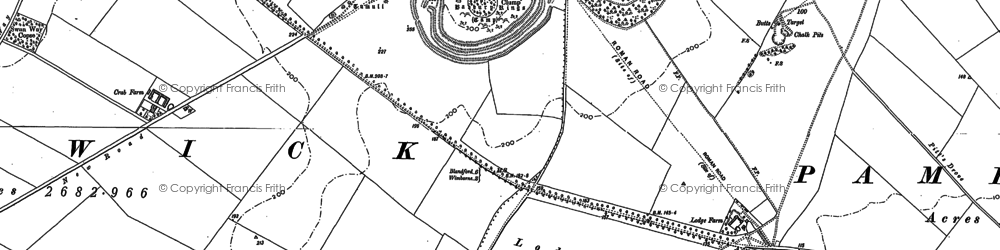 Old map of Badbury Rings in 1887