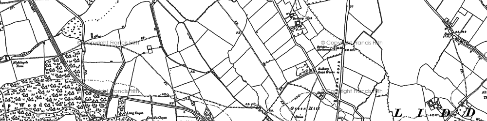 Old map of Badbury Wick in 1922