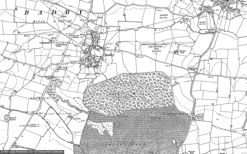 Old Map of Historic Map covering Badby Wood in 1883