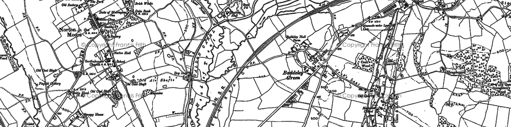 Old map of Baddeley Green in 1878