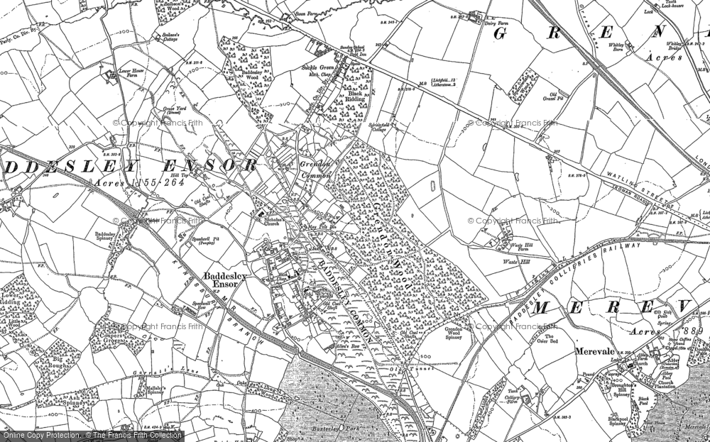 Old Map of Baddesley Ensor, 1883 - 1901 in 1883