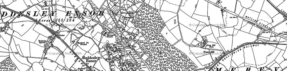 Old map of Baddesley Ensor in 1883