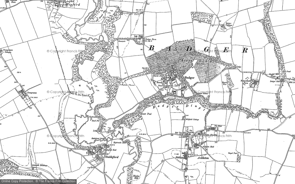Old Map of Historic Map covering Badger Dingle in 1882