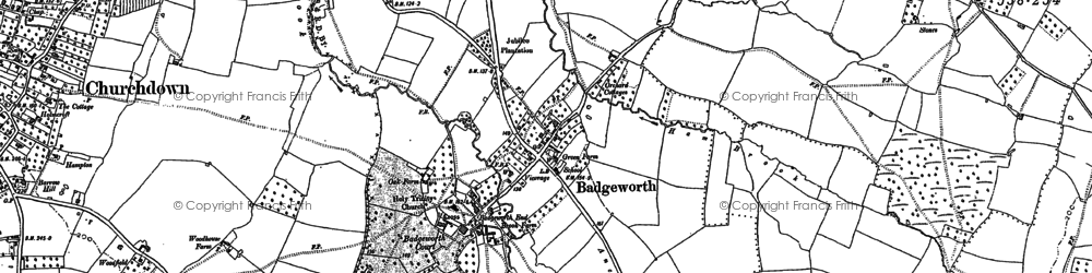Old map of Badgeworth in 1883