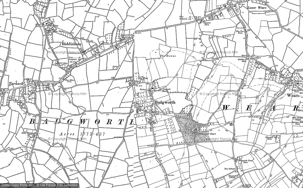 Old Map of Badgworth, 1884 in 1884