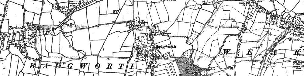 Old map of Badgworth in 1884