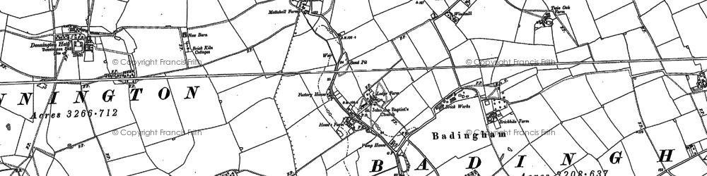Old map of Badingham in 1883
