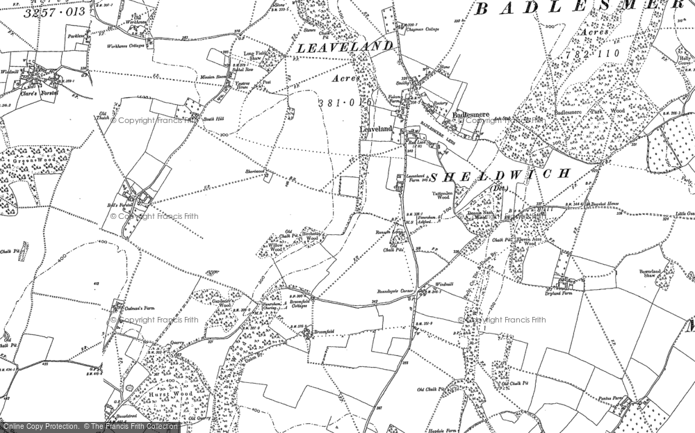 Old Map of Historic Map covering Woods Court in 1896