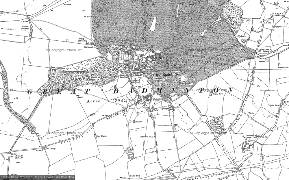 Old Map of Badminton, 1881 - 1919 in 1881