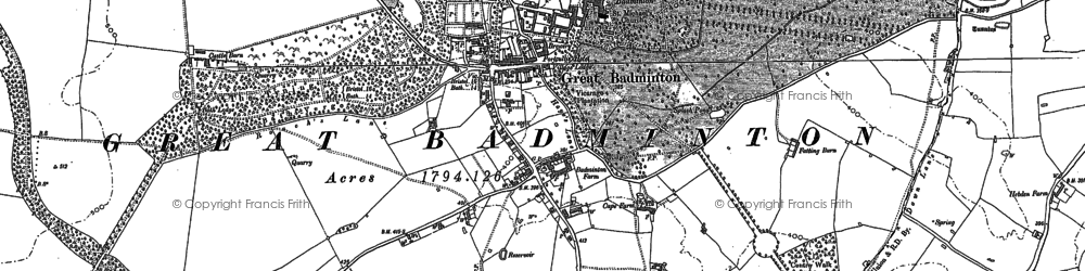 Old map of Badminton in 1881