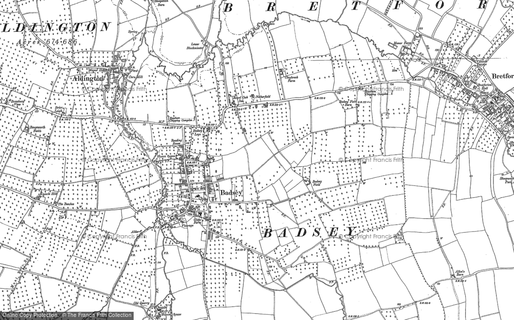 Old Map of Badsey, 1883 - 1885 in 1883