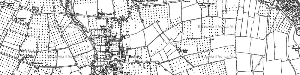 Old map of Badsey in 1883