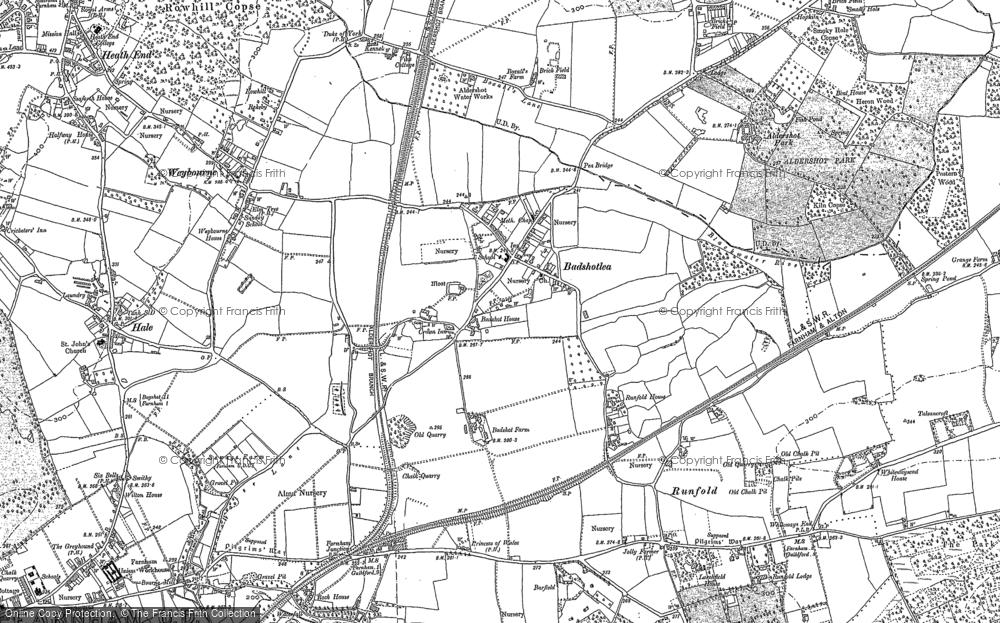 Old Map of Badshot Lea, 1913 in 1913