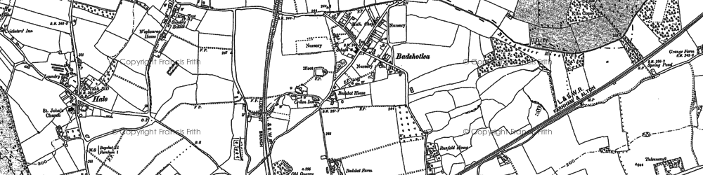 Old map of Badshot Lea in 1913