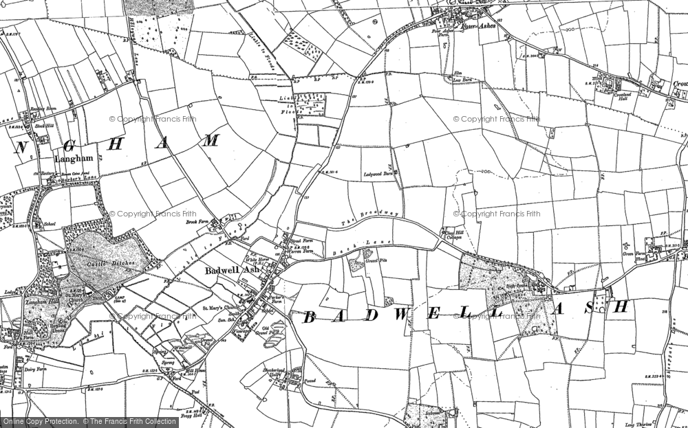 Old Map of Badwell Ash, 1883 - 1884 in 1883