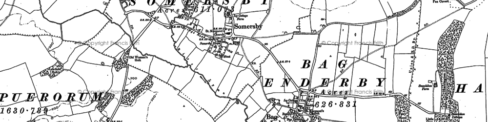 Old map of Bag Enderby in 1887