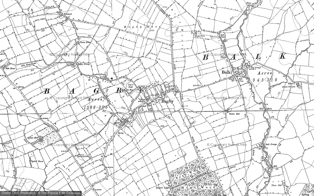 Old Map of Historic Map covering Woodcock in 1890