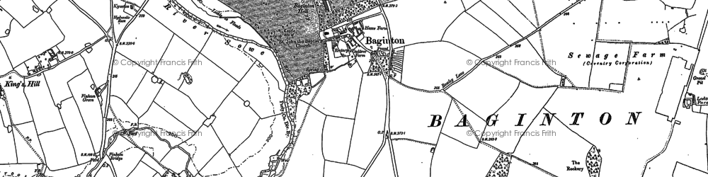 Old map of Baginton in 1886