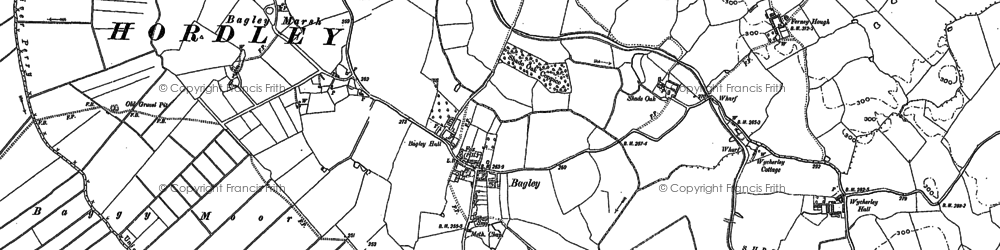 Old map of Wycherley Hall in 1875