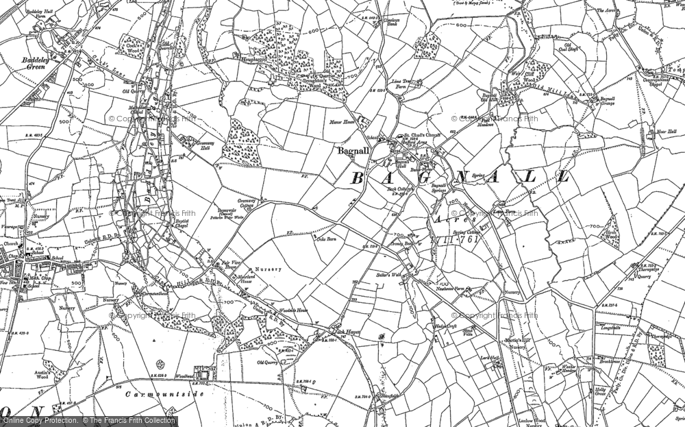 Old Map of Bagnall, 1879 in 1879