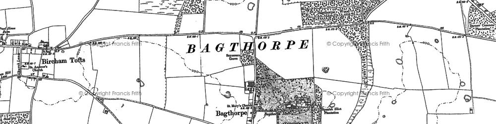 Old map of Bagthorpe in 1885